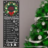 Lista de desejos de presentes de Natal em quadro negro com guirlanda Adesivo de parede