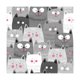 Cute Cats Colorful Seamless Pattern Background Pósters por Marianna Pashchuk