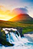 Sunset Waterfall. Amazing Nature Landscape. Fotografisk trykk av  EpicStockMedia
