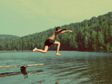 Boy Jumping in Lake at Summer Vacations - Vintage Retro Style Fotografisk trykk av  Kokhanchikov
