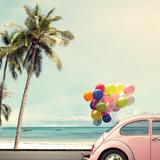 Vintage Card of Car with Colorful Balloon on Beach Blue Sky Concept of Love in Summer and Wedding H Valokuvavedos tekijänä  jakkapan