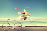 Bicycle Vintage with Heart Balloon on Beach Blue Sky Concept of Love in Summer and Wedding Valokuvavedos tekijänä  jakkapan