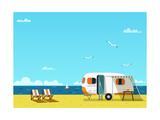 Retro Caravan on the Beach, Summer Vacation, Vector Illustration,Retro Background Láminas por  Skoreya