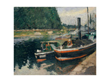 Barges at Pontoise Posters par Camille Pissarro