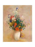 Vase of Flowers (Pink Background) Print by Odilon Redon