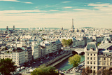 Paris Panorama, France. View on Eiffel Tower and Seine River from Notre Dame Cathedral. Vintage, Re Fotografie-Druck von Michal Bednarek