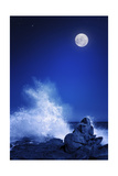 Rising Moon over Rocky Coastline at Night (Elements of this Image Furnished by Nasa: Moonmap Http:/ Posters by Johan Swanepoel