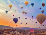 Hot Air Balloons Flying over Mountains Landscape Sunset Vintage Nature Background Fotoprint van Danilin VladyslaV Travel