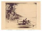 Old Hawaii - Hawaiian in Outrigger Canoe (Wa'a) Arte di John Melville Kelly