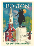 Boston, Massachusetts - Fly Eastern Air Lines - Paul Revere Statue and Old North Church Stampe di  Pacifica Island Art