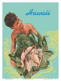 Hawaii - Hawaiian Boy with Fish in Ti Leaves Posters por Toni Frissell
