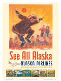 See All Alaska - Alaska Airlines - Kotzebue Eskimo Dance Lámina por Jess C.