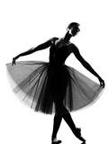 Beautiful Caucasian Tall Woman Ballet Dancer Standing Pose Full Length on Studio Isolated White Bac Fotografisk trykk av  OSTILL
