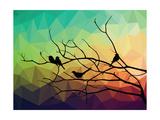 Animal of Wildlife ( Bird on Tree Branch and Low Poly Vector Background) Giclée-Premiumdruck von  ananaline