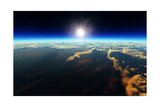 Planet Earth Sunrise over Cloudy Ocean from Outer Space (3D Artwork) Posters by Johan Swanepoel