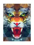 Abstract Polygonal Tiger. Geometric Hipster Illustration. Polygonal Poster Giclée-Premiumdruck von  Merfin