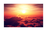 Golden Sunrise above Puffy Clouds (Digital Artwork) Prints by Johan Swanepoel