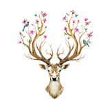 Watercolor Illustration Isolated Deer, Big Antlers, Flowers and Birds on the Horns, Branches Cherry Kunstdrucke von Anastasia Zenina-Lembrik