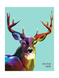 Colorful Deer Illustration. Background with Wild Animal. Low Poly Deer with Horns. Giclée-Premiumdruck von  Sovusha