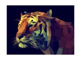 Low Poly Design. Tiger Illustration. Giclée-Premiumdruck von  Kundra