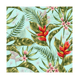Seamless Pattern with Tropical Flowers in Watercolor Style Prints by  hoverfly
