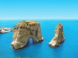 Pigeon Rocks - Symbol of Lebanon, Capital Beirut Fotografisk trykk av  dimmitrius