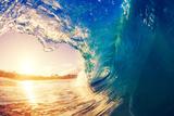 Sunrise Wave, Tropical Island Atoll, Nature Untouched Paradise Fotografisk trykk av  EpicStockMedia