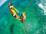 Kite Boarding. Fun in the Ocean, Extreme Sport. POV View from Action Camera. Photographic Print by  EpicStockMedia