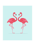 Vector Illustration Pink Flamingo Couple. Exotic Bird. Cool Flamingo Decorative Flat Design Element Kunstdrucke von Daryna Khozieieva