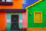 Colorful Caribbean Houses Tropical Vivid Colors Isla Mujeres Mexico Photographic Print by  holbox