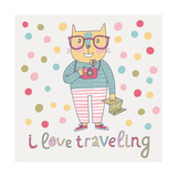 Concept Cat Hipster in Cartoon Funny Style. Vector Childish Card with Funny Cat. Travel Concept in Print by  smilewithjul