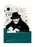 Symbolic Image of a Man Who Writes a Letter with Pen and Ink Poster par  Dmitriip