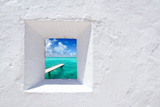 Ibiza Mediterranean White Wall Window with Formentera Beach View [Photo-Illustration] Photographic Print by  holbox