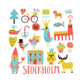 Lovely Stockholm Sweden Set in Vector. Sweet Stylish Scandinavian Set with House, Church, Gnome, Bi Posters by  smilewithjul