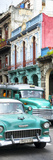 Cuba Fuerte Collection Panoramic - Green Classic Cars in Havana Stampa fotografica di Philippe Hugonnard