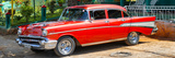 Cuba Fuerte Collection Panoramic - Red Classic Car in Vinales Fotografisk tryk af Philippe Hugonnard