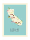 Kaart van Californië - blauwe plattegrond Poster van Rebecca Lane