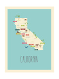 Mappa blu - California Stampe di Rebecca Lane