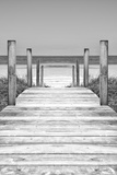 Cuba Fuerte Collection B&W - Wooden Pier on Tropical Beach X Fotografisk tryk af Philippe Hugonnard