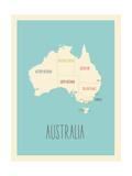 Australie, Carte graphique bleue Affiches par Rebecca Lane
