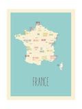 Frankrijk - blauwe plattegrond Poster van Rebecca Lane