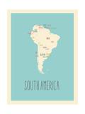 Zuid-Amerika - blauwe plattegrond Posters van Rebecca Lane