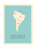Blue America Map Posters by Rebecca Lane