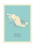 Mexique, Carte graphique bleue Affiche par Rebecca Lane