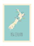 Nieuw-Zeeland - blauwe plattegrond Poster van Rebecca Lane