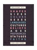Tekst: Welcome All (Iedereen is welkom) Poster van Rebecca Lane