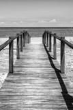 Cuba Fuerte Collection B&W - Wooden Pier on Tropical Beach V Fotografisk tryk af Philippe Hugonnard