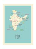 Mappa blu - India Poster di Rebecca Lane