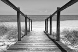 Cuba Fuerte Collection B&W - Wooden Pier on Tropical Beach II Fotografisk tryk af Philippe Hugonnard