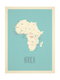 África - Mapa azul Láminas por Rebecca Lane